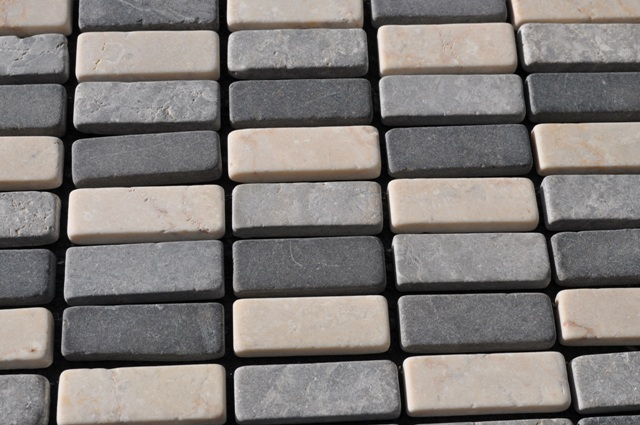White Black Grey Tumbled Marble Mosaic Tiles 1 M2